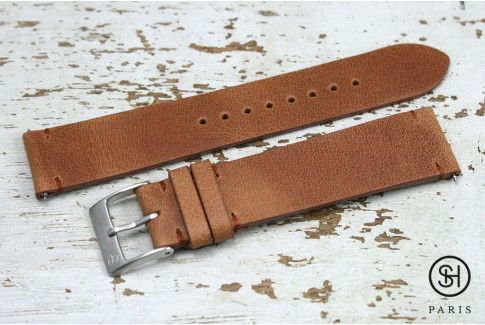 Gold Brown Vintage SH leather watch strap with quick release spring bars (interchangeable)