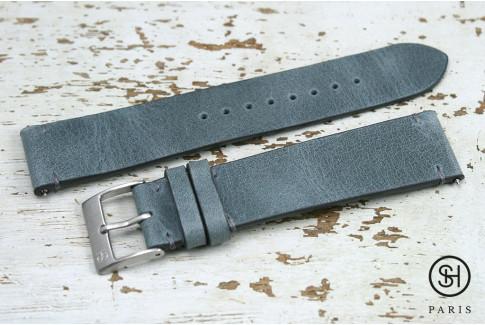 Bracelet montre cuir Vintage SH Gris Bleu avec pompes rapides (interchangeable)
