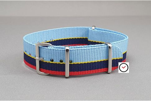 Peugeot Talbot Racing G10 NATO watch strap - Blue, Red, Yellow
