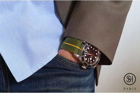 Original Green Yellow SELECT-HEURE Marine Nationale nylon watch straps