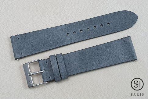 Bracelet montre cuir Vintage SELECT-HEURE Gris Bleu avec pompes rapides (interchangeable)