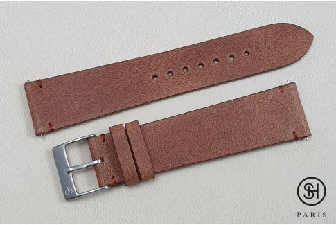 Gold Brown Vintage SELECT-HEURE leather watch strap with quick release spring bars (interchangeable)