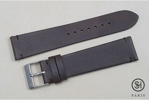 Bracelet montre cuir Vintage SELECT-HEURE Marron foncé avec pompes rapides (interchangeable)