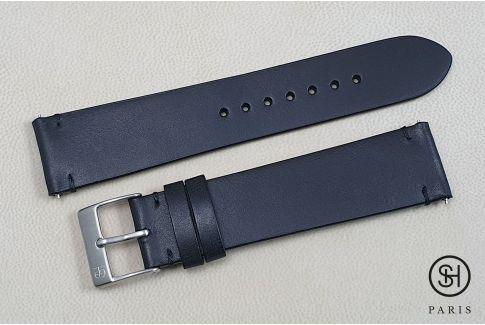 Bracelet montre cuir Vintage SELECT-HEURE Noir mat avec pompes rapides (interchangeable)
