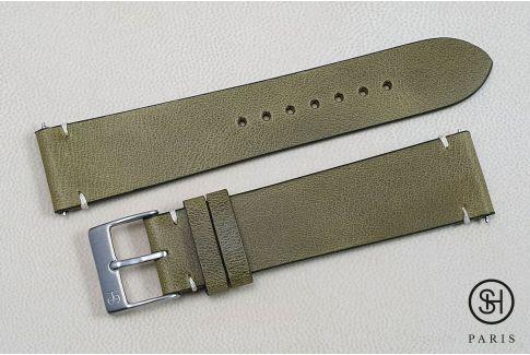Bracelet montre cuir Vintage SELECT-HEURE Olive avec pompes rapides (interchangeable)