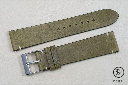 Olive Green Vintage SELECT-HEURE leather watch strap with quick release spring bars (interchangeable)