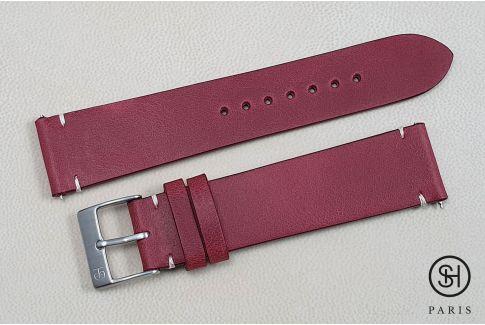 Bracelet montre cuir Vintage SELECT-HEURE Bourgogne avec pompes rapides (interchangeable)