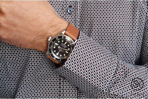 Bracelet montre cuir Vintage SELECT-HEURE Marron Or avec pompes rapides (interchangeable)