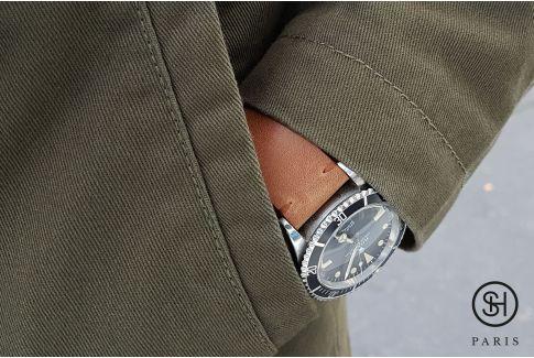 Bracelet montre cuir Vintage Brut SELECT-HEURE Marron Or avec pompes rapides (interchangeable)