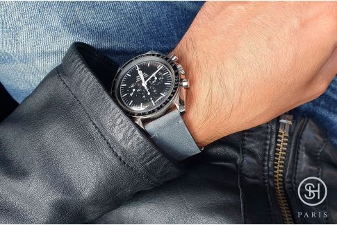 Bracelet montre cuir Vintage Brut SELECT-HEURE Gris Bleu avec pompes rapides (interchangeable)