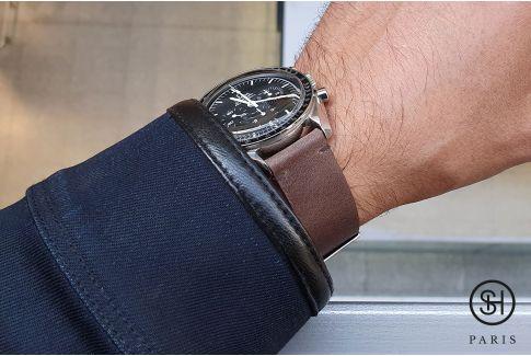 Bracelet montre cuir Vintage Brut SELECT-HEURE Marron Foncé avec pompes rapides (interchangeable)
