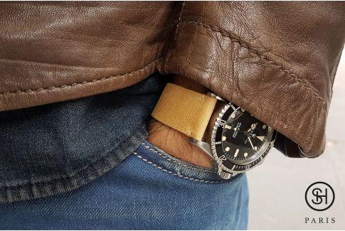 Bracelet montre cuir Vintage SELECT-HEURE Miel avec pompes rapides (interchangeable)