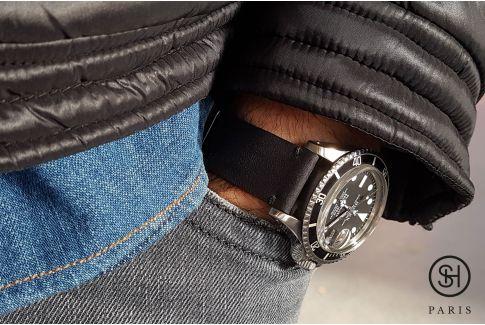 Bracelet montre cuir Vintage Brut SELECT-HEURE Noir Mat avec pompes rapides (interchangeable)