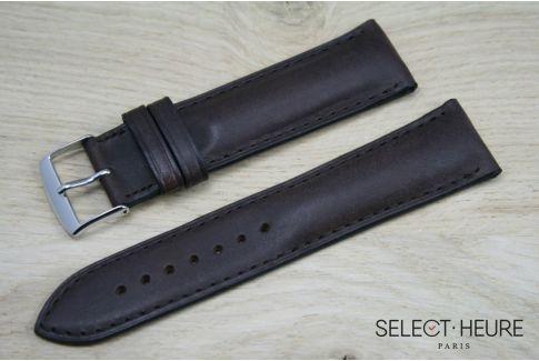 Bracelet montre cuir SELECT-HEURE bombé Marron foncé, coutures ton sur ton