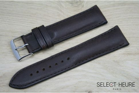 Dark Brown bulging SELECT-HEURE leather watch strap, tone on tone stitching