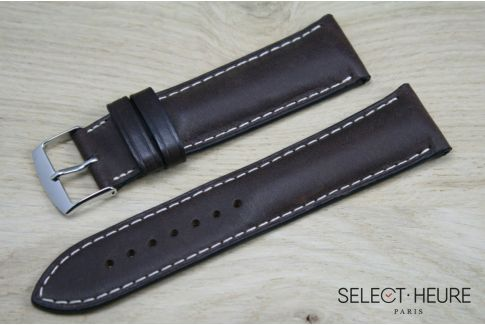 Dark Brown bulging SELECT-HEURE leather watch strap, ecru stitching