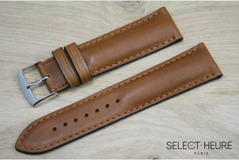 Cognac Brown bulging SELECT-HEURE leather watch strap, tone on tone stitching