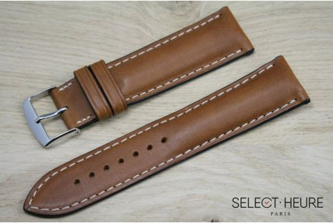 Cognac Brown bulging SELECT-HEURE leather watch strap, ecru stitching