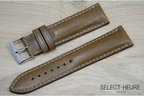 Bracelet montre cuir SELECT-HEURE bombé Miel, coutures ton sur ton