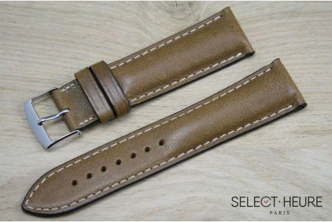 Bracelet montre cuir SELECT-HEURE bombé Miel, coutures écrues