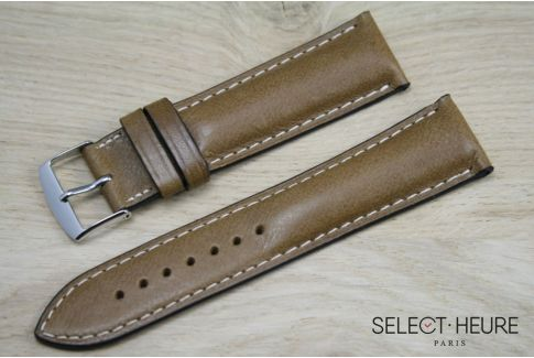 Honey Brown bulging SELECT-HEURE leather watch strap,ecru stitching