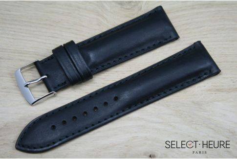 Black bulging SELECT-HEURE leather watch strap, tone on tone stitching
