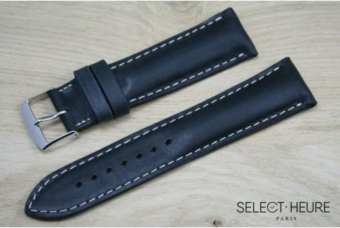 Black bulging SELECT-HEURE leather watch strap, ecru stitching