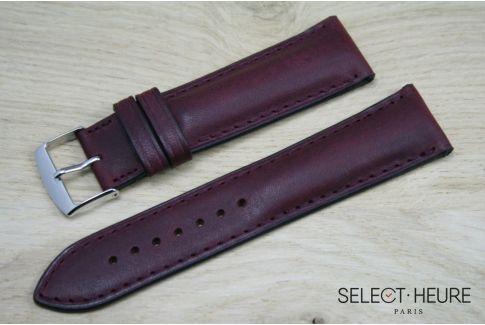 Bracelet montreSELECT-HEURE bombé Bordeaux, coutures ton sur ton