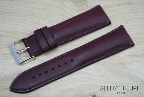 Burgundy Red bulging SELECT-HEURE leather watch strap, tone on tone stitching
