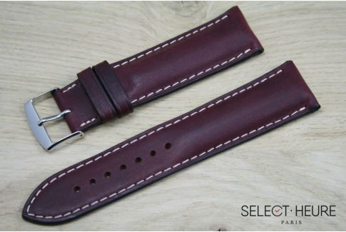 Burgundy Red bulging SELECT-HEURE leather watch strap, ecru stitching
