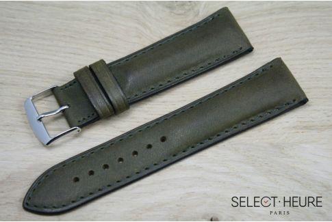 Bracelet montre cuir SELECT-HEURE bombé Vert Kaki, coutures ton sur ton