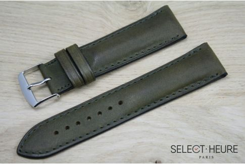 Kaki Green bulging SELECT-HEURE leather watch strap, tone on tone stitching