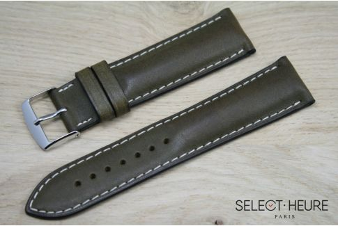 Kaki Green bulging SELECT-HEURE leather watch strap, ecru stitching