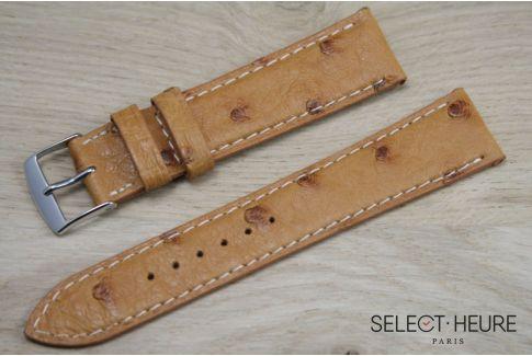 Bracelet montre cuir SELECT-HEURE en Autruche véritable Miel