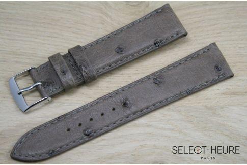 Bracelet montre cuir SELECT-HEURE en Autruche véritable Taupe