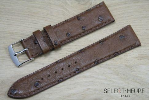 Bracelet montre cuir SELECT-HEURE en Autruche véritable Marron foncé