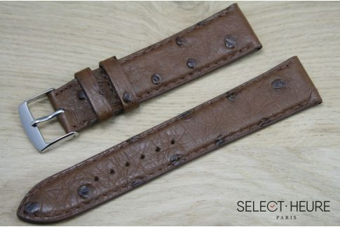 Dark Brown genuine Ostrich SELECT-HEURE leather watch band