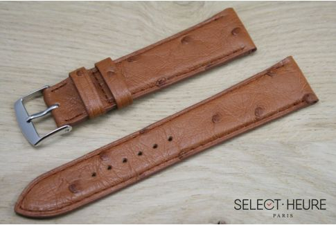 Gold Brown genuine Ostrich SELECT-HEURE leather watch band