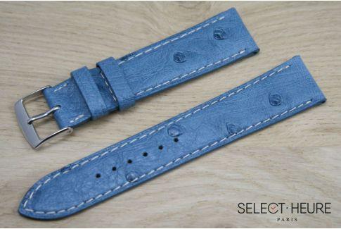 Bracelet montre cuir SELECT-HEURE en Autruche véritable Bleu Denim