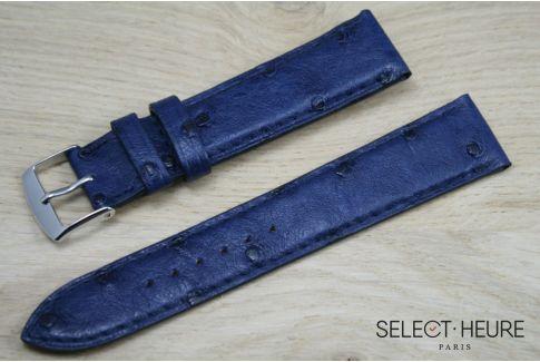 Bracelet montre cuir SELECT-HEURE en Autruche véritable Bleu Marine