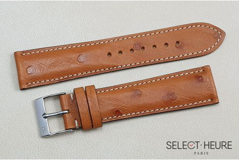 Cognac genuine Ostrich SELECT-HEURE leather watch strap, handmade in France