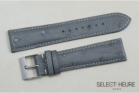 Grey genuine Ostrich SELECT-HEURE leather watch strap, handmade in France