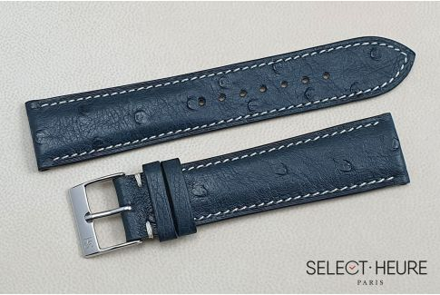 Night Blue genuine Ostrich SELECT-HEURE leather watch strap, handmade in France