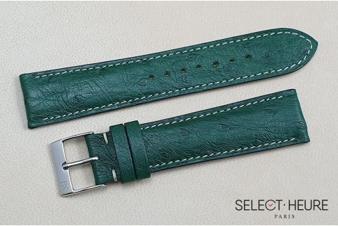 Empire Green genuine Ostrich SELECT-HEURE leather watch strap, handmade in France