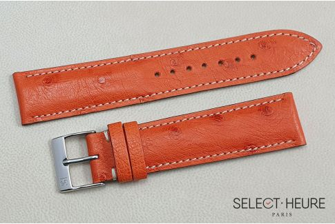 Orange genuine Ostrich SELECT-HEURE leather watch strap, handmade in France
