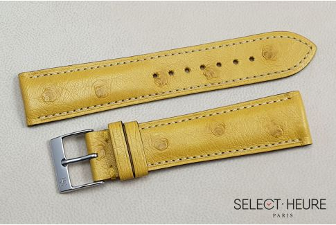 Yellow genuine Ostrich SELECT-HEURE leather watch strap, handmade in France