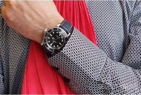 Bracelet montre cuir SELECT-HEURE en Autruche véritable Bleu Nuit, fait main en France