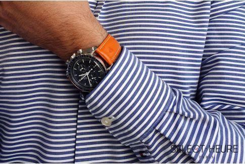 Bracelet montre cuir SELECT-HEURE en Autruche véritable Orange, fait main en France