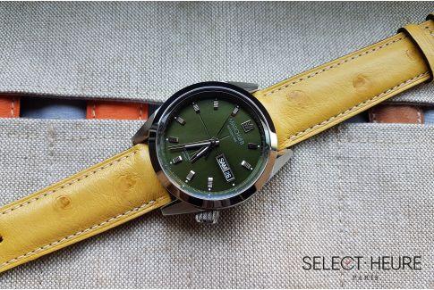Bracelet montre cuir SELECT-HEURE en Autruche véritable Jaune, fait main en France