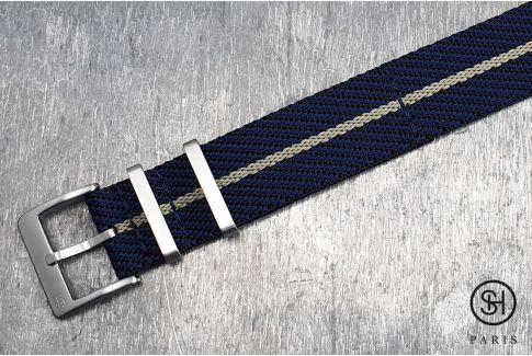 Bracelet montre Nylon Sergé SELECT-HEURE Noir Bleu Beige